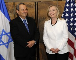 Hillary Clinton meets with IIsraeli Defense Minister Ehud Barak in Jerusalem