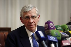 Former British Foreign Secretary Jack Straw holds a press conference in Tehran, Iran
