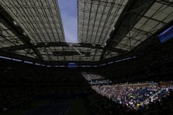 The retractable stadium roof opens at Arthur Ashe Kids Day
