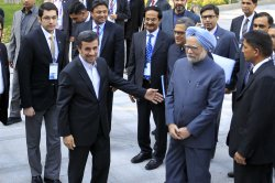 Indian Prime Minister Manmohan Singh meets with Iranian President Mahmoud Ahmadinejad in Tehran, Iran