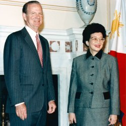 U.S. Secretary of State James Baker meets with Philippine President Corazon Aquino