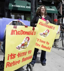 Kostenbader protests Ronald McDonald in Chicago
