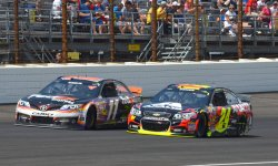 Jeff Gordon passes Denny Hamlin in Brickyard 400