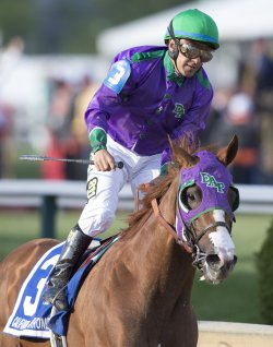 California Chrome wins the 139th Preakness Stakes in Baltimore, Maryland