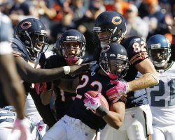 Bears celebrate Forte touchdown against Seahawks in Chicago