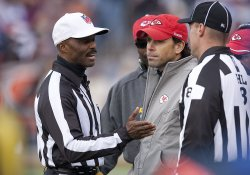 Referee Carey Explains No Challenge to Chiefs Head Coach Haley at Invesco Field at Mile High in Denver