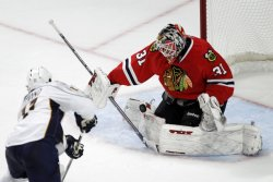 Predators Legwand shoots on Blackhawks Niemi in Chicago