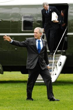 U.S. President Bush arrives at White House in Washington
