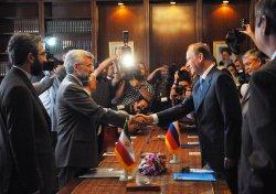 Russia's Security Council Secretary Nikolai Patrushev in Tehran, Iran.