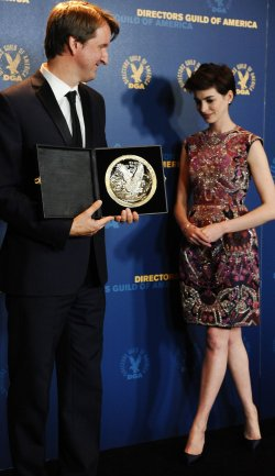 Tom Hooper and Anne Hathaway appear backstage at 65th annual DGA Awards in Los Angeles