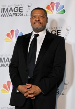 Actor Laurence Fishburne appears backstage in the press room at the 43rd NAACP Image Awards in Los Angeles