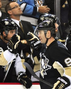 Pens Dupuis Celebrates Goal in Pittsburgh