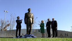 Reagan statue unveiled at Ronald Reagan Washington National Airport in Virginia