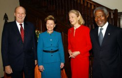KING HARALD V AND QUEEN SONJA OF NORWAY VISIT UN SECRETARY GENERAL ANNAN