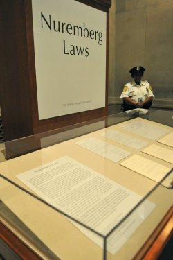 The original Nuremberg Laws on display at the National Archives