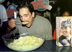 N.Y. Mets Mike Piazza eats cereal to promo his charity work