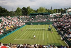 A general view of Wimbledon's Court No.3 on the first day of Wimbledon.