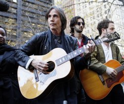 Jackson Browne performs for Occupy Wall Street Protesters in Zuccotti Park in New York