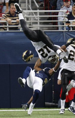 St. Louis Rams OJ Atogwe and New Orleans Saints Marques Colston