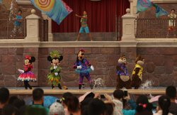 Disney characters perform during a summer concer in Shanghai Disneyland, China
