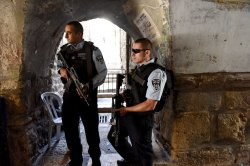 Israeli Police Guard Muslim Quarter Old City Jerusalem