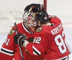 Blackhawks Niemi and Kopecky celebrate win in 2010 Stanley Cup Final