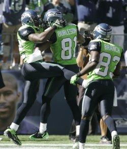 Seahawks running back Julius Jones celebrates.