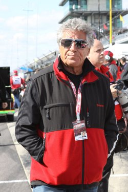 Mario Andretti on hand to cheer on grandson to win Indianapolis 500 in Indianapolis, Indiana.