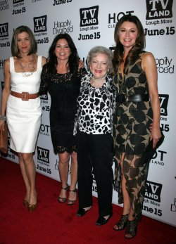 "The Cast of ""Hot in Cleveland"" (Wendy Malick, Valerie Bertinelli, Betty White and Jane Leeves) arrive for the TV Land Premiere Party for ""Hot in Cleveland"" and ""Happily Divorced"" in New York"