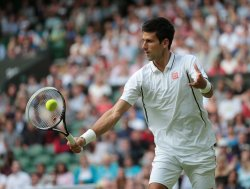 Novak Djokovic returns at 2013 Wimbledon Championships
