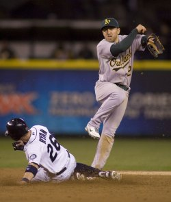 Oakland Athletics shortstop Cliff Pennington turns a double play against the Seattle Mariners in Seattle.