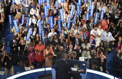 Delegates cheer remarks by President Obama at the DNC convention in Philadelphia