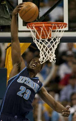 Jazz Mattews Dunks Against the Nuggets in the NBA Western Conference Quarter-finals Game Five in Denver