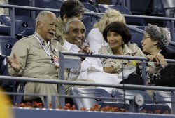 Charles B. Rangel and former New York Mayor David Dinkins at the U.S. Open Tennis Championships in New York