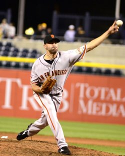 San Francisco Giants Pitcher Jeremy Affeldt in Pittsburgh