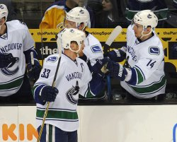 Canucks center Henrik Sedin scores in Los Angeles