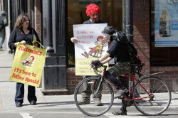 Nugent and Kostenbader protest Ronald McDonald in Chicago