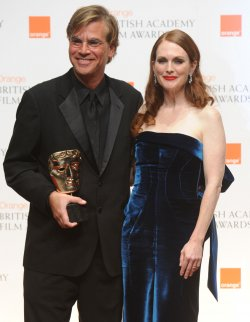 "Aaron Sorkin and Julianne Moore attend press room at ""BAFTA"" ceremony in London"