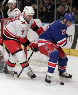 Carolina Hurricanes Ian White and New York Rangers Sean Avery at Madison Square Garden in New York