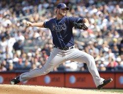 Tampa Bay Rays starting pitcher Jeff Niemann at Yankees Stadium in New York