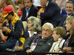 Henry Kissinger attends USA-Spain gold medal basketball game at 2012 Summer Olympics in London