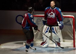 Avalanche Duchene Gives Words of Encouragement to Goalie Anderson at Game Six in Denver