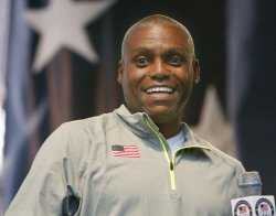"Carl Lewis takes part in the ""Road to London"" is celebrated in Time Square in New York"