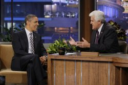 "President Barack Obama makes fourth appearance on ""The Tonight Show with Jay Leno"" in Burbank, California"