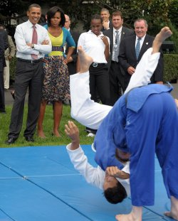 President Obama, First Lady watch judo while hosting Olympic event at White House