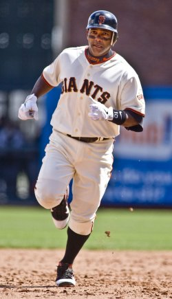 Giants Miguel Tejadahits home run off St. Louis Cardinals Jake Westerbrook in San Francisco