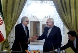 Iran's FM Zarif and UN-Arab League Special Envoy to Syria Brahimi Press Conference