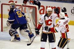 Calgary Flames Jarome Iginla scores goal against St. Louis Blues
