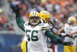 Packers' Barnett celebrates against the Bears in Chicago