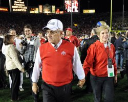 Ohio State head coach Jim Tressel walks off the field at the Rose Bowl in Pasadena, California